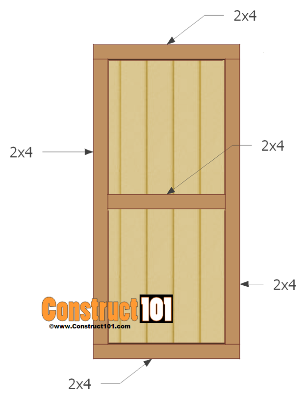 Shed door plans step by step construct101 for Exterior shed doors design