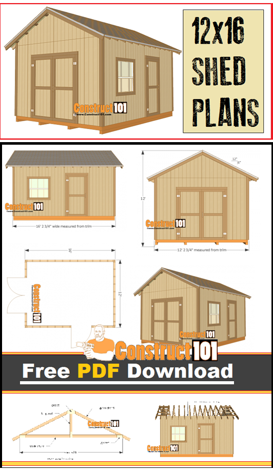 12x16 Shed Plans Gable Design Pdf Download Construct101