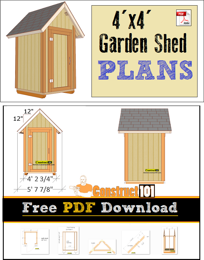 Small shed plans, free PDF download, cutting list, and shopping list.