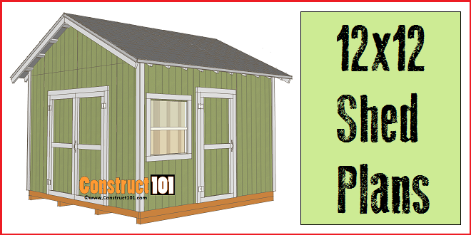 12x12 shed plans gable shed construct101 for Barn storage building plans