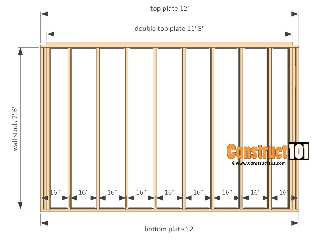 12x12 shed plans gable front and back wall frame