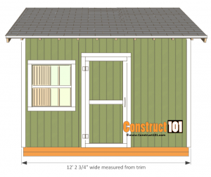 12x12 shed plans gable front view