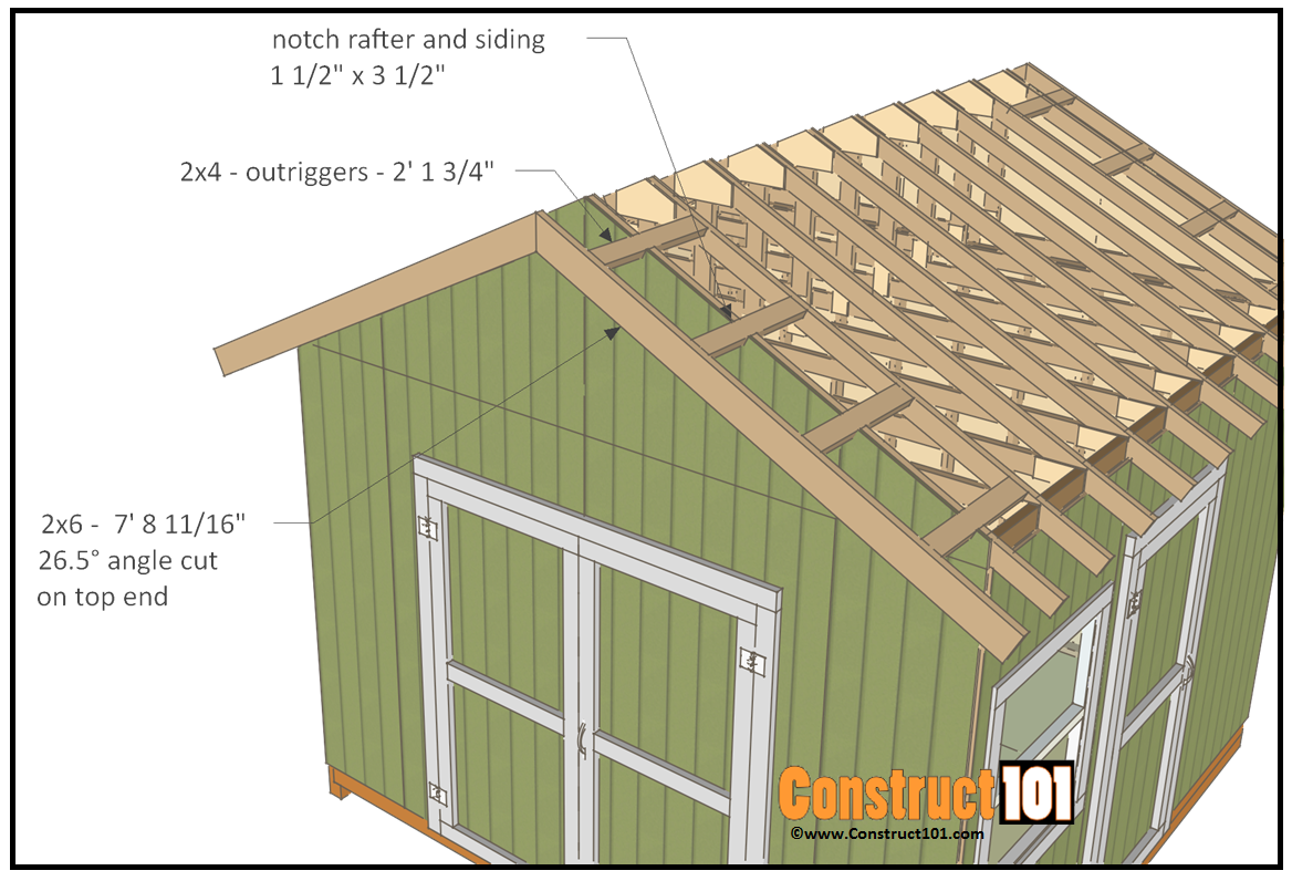 12x12 shed plans gable outriggers