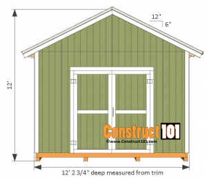 12x12 shed plans gable side view