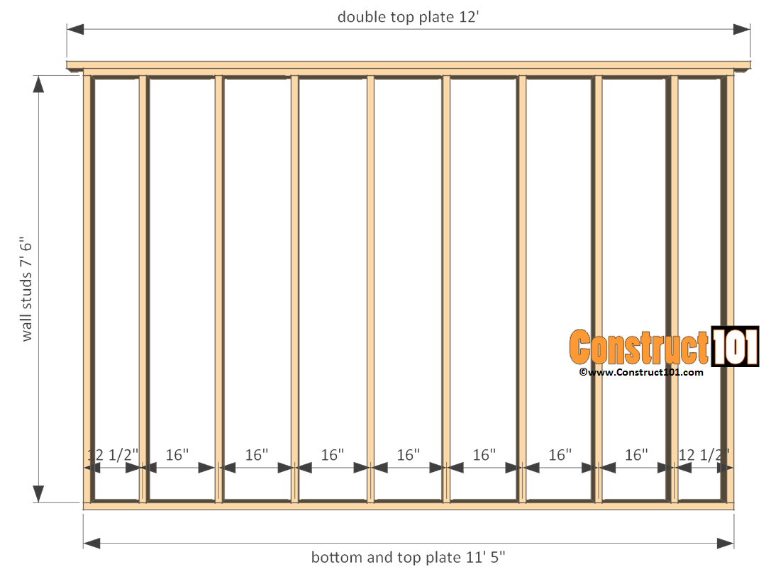 12x12 shed plans gable side wall frame