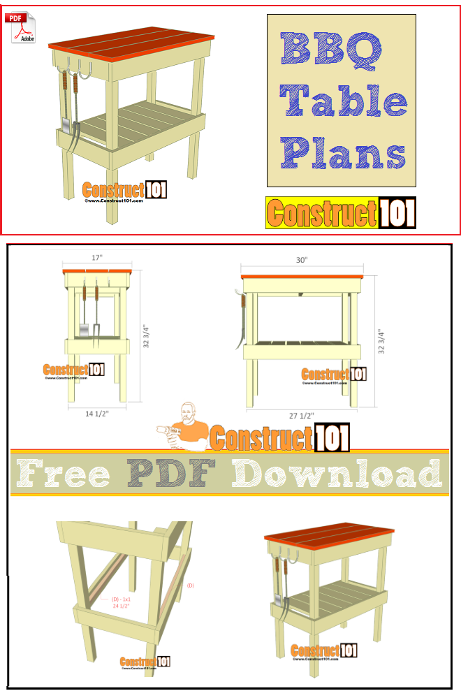 BBQ table plans, free PDF download, cutting list, and shopping list.