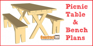 Picnic table plans detached benches free PDF download, material list, and step-by-step drawings.