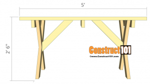 Picnic table plans detached benches front view