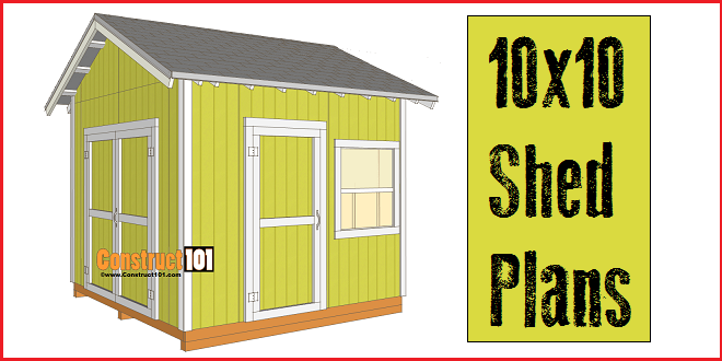 Shed plans 10x10 gable shed pdf download construct101 for Shed building plans pdf