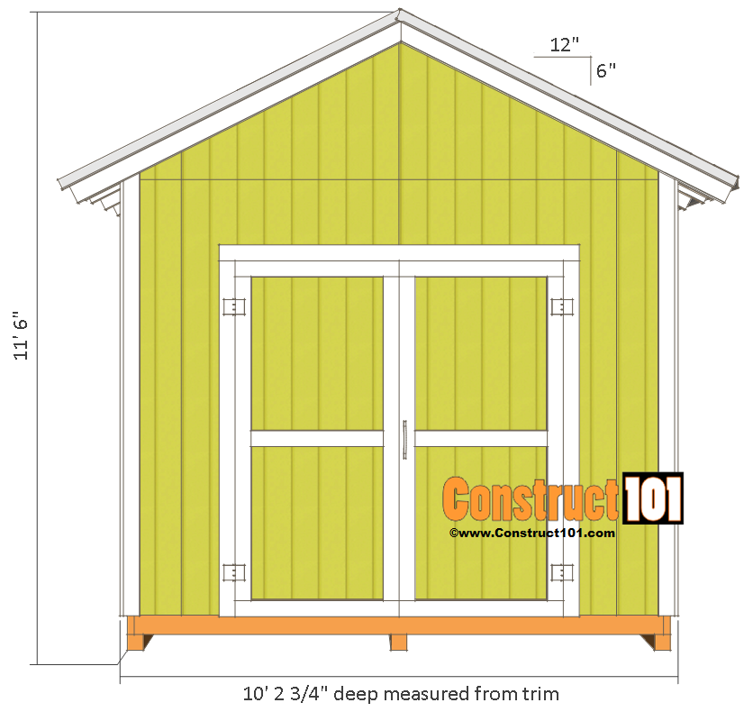 Shed plans 10x10 gable shed construct101 for 10x10 house design