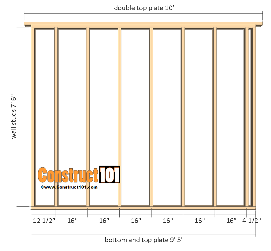 shed plans 10x10 gable shed side wall frame