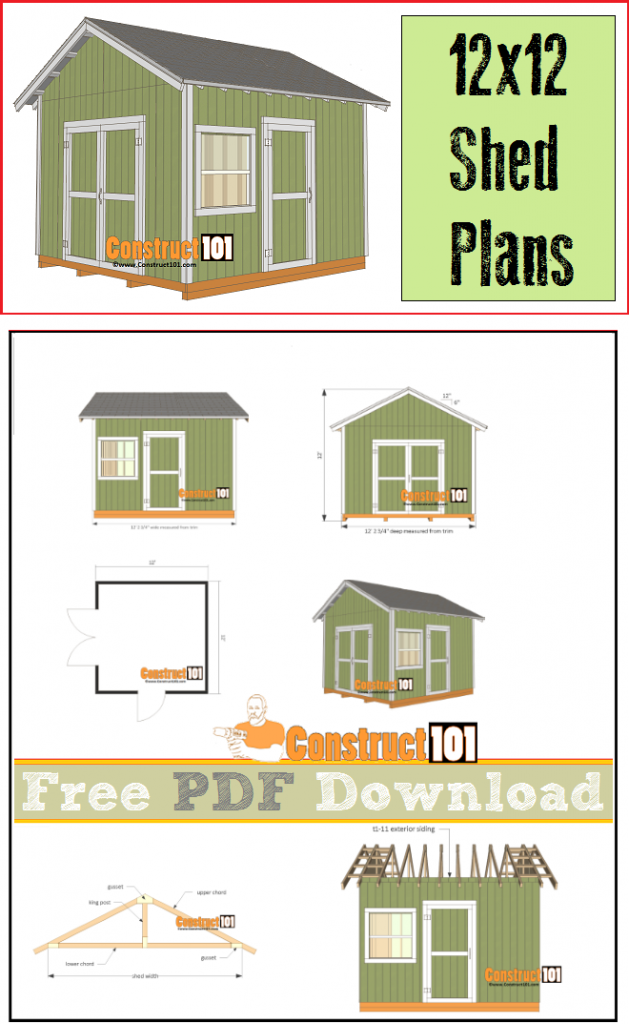 Shed plans - 12x12 gable shed - free PDF download, cutting list, and shopping list.
