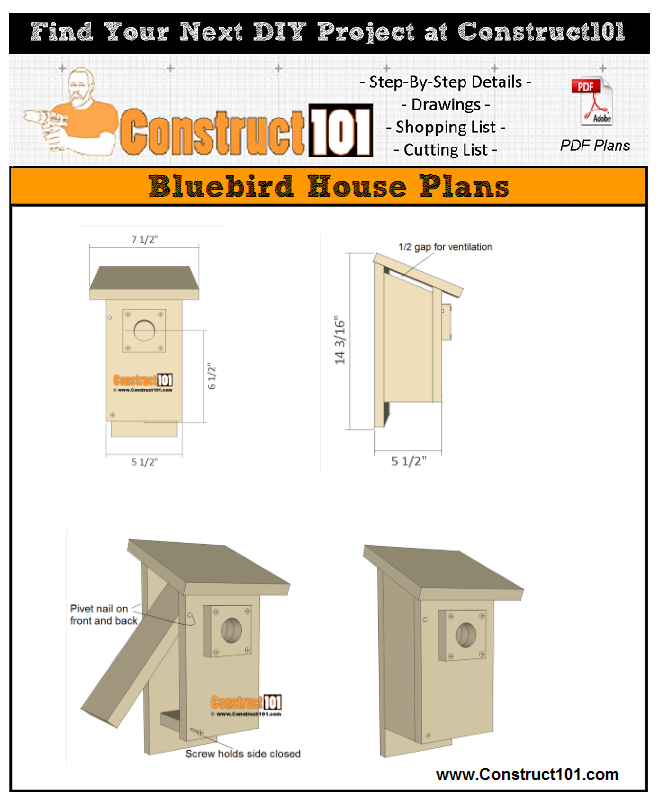 Bluebird house plans - free PDF download, material list, step-by-step drawings.