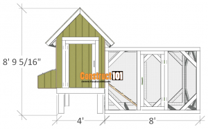 4x4 chicken coop plans front view.
