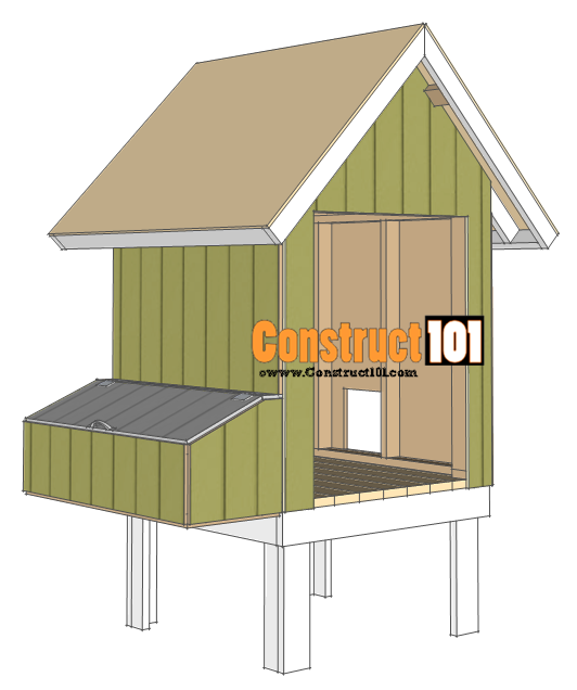 chicken coop plans - design #2 roof deck