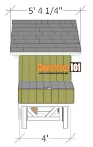 4x4 chicken coop plans side view.