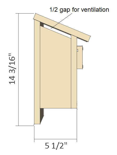 Bluebird house plans side view.