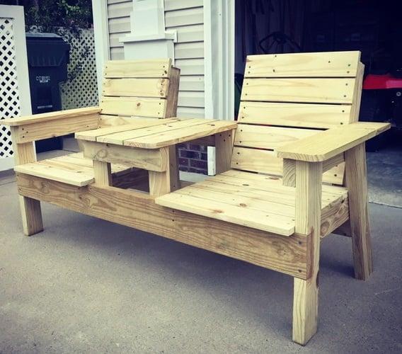 DIY outdoor bench, double chair.