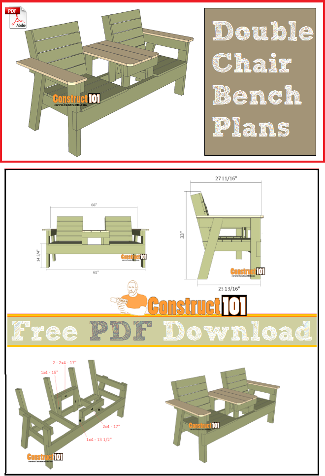 Double chair bench plans, free PDF download, cutting list, and shopping list.