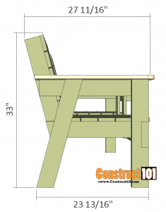 double chair bench plans side view