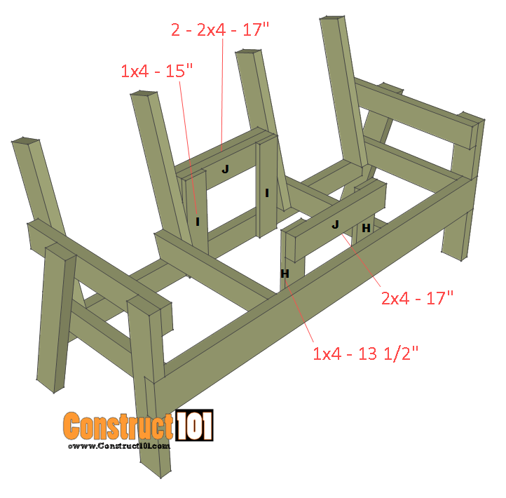 double chair bench plans step 5