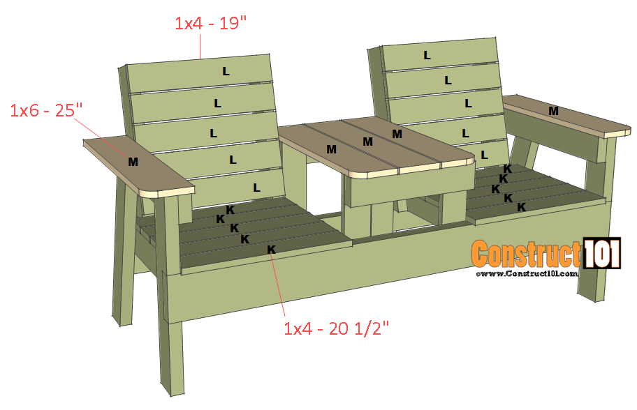 Fine Double Chair Bench Plans Step By Step Plans Construct101 Short Links Chair Design For Home Short Linksinfo