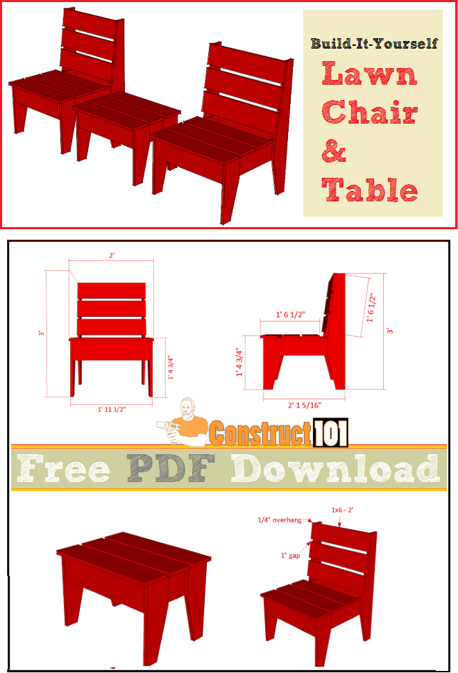Lawn chair and table plans, free PDF download, cutting list, and shopping list.