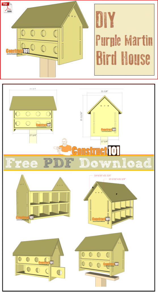 Purple Martin Bird House Plans 16 Units - PDF Download - Construct101