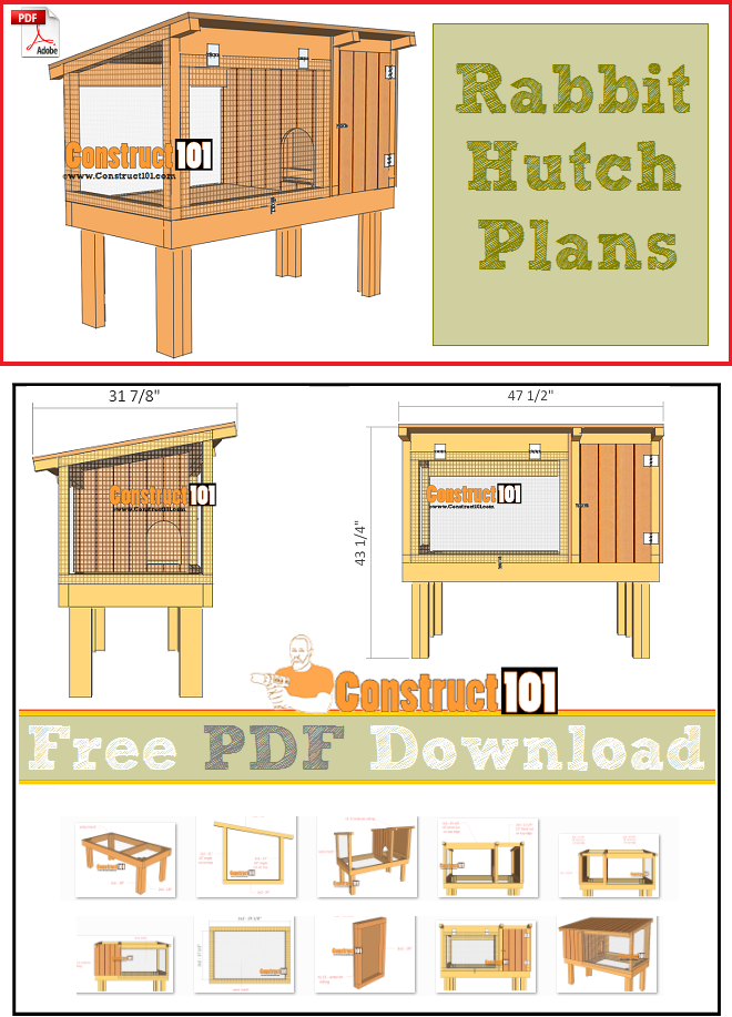 Rabbit hutch plans pdf download construct101 for Diy hutch plans