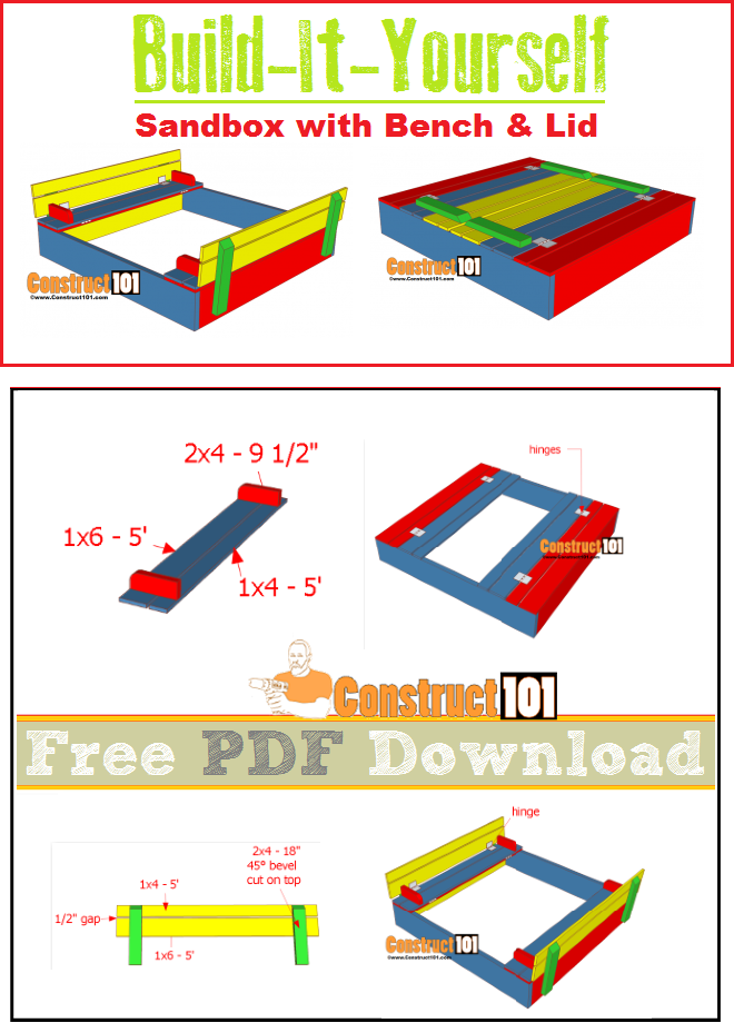 Sandbox Plans With Bench Amp Lid Pdf Download Construct101