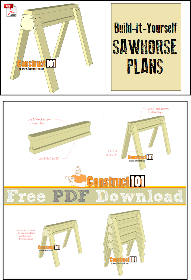 Sawhorse plans, free PDF download, cutting list, and shopping list.