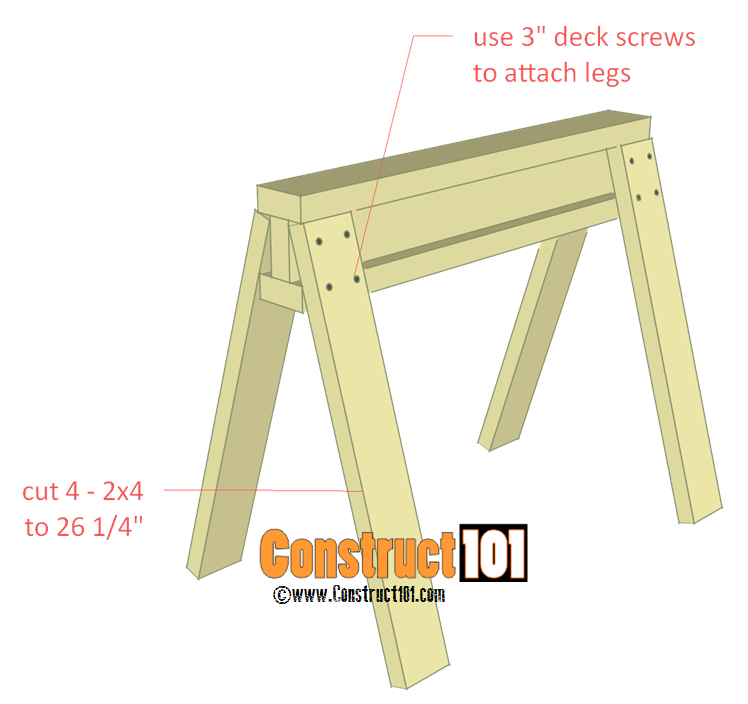 Sawhorse Plans Step 2 Construct101