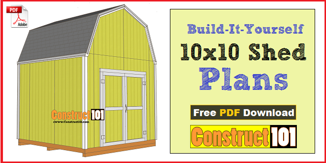 10x10 shed plans gambrel shed pdf download construct101 for Garden shed 10x10