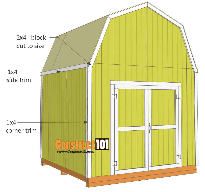 10x10 shed plans - gambrel shed - trim