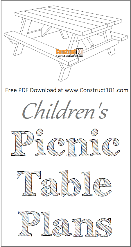 Children's picnic table plans, free PDF download, material list, DIY projects.
