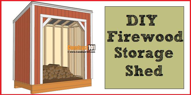 Firewood shed plans, 4x8 storage.