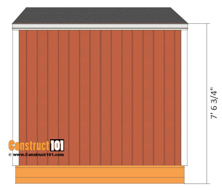 Firewood shed plans - 4x8 - back view.