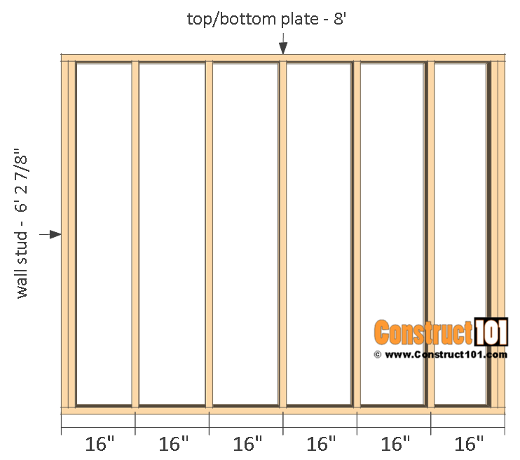 Firewood shed plans - 4x8 - back wall frame.