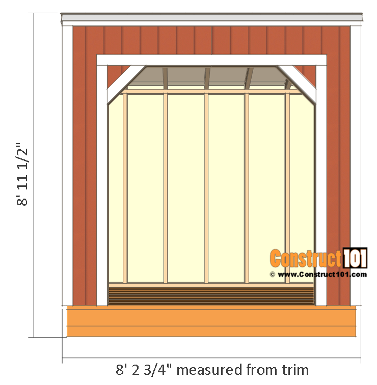 Firewood shed plans - 4x8 - front view.