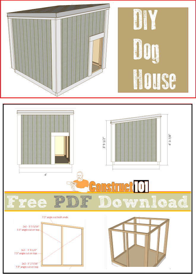 Large dog house plans pdf download construct101 for Diy home floor plans
