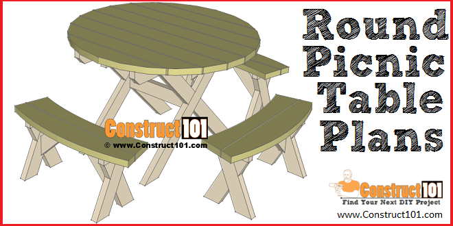 Phenomenal Round Picnic Table Plans Step By Step Construct101 Theyellowbook Wood Chair Design Ideas Theyellowbookinfo