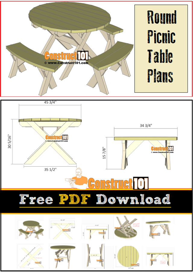 Round Picnic Table Plans Pdf Download Construct101