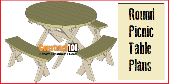 Round picnic table plans step by step construct101 round picnic table plans includes free pdf download material list and step watchthetrailerfo