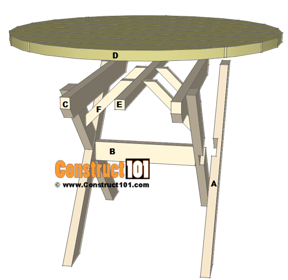 Roundpicnictableplansparts Construct - Picnic table parts