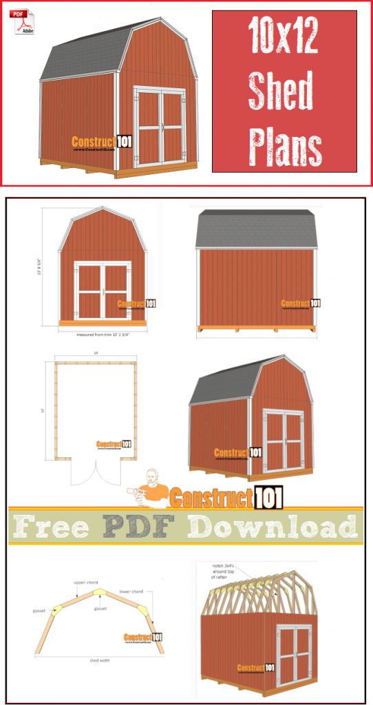 Shed plans, 10x12 gambrel shed, free PDF download, cutting list, and shopping list.