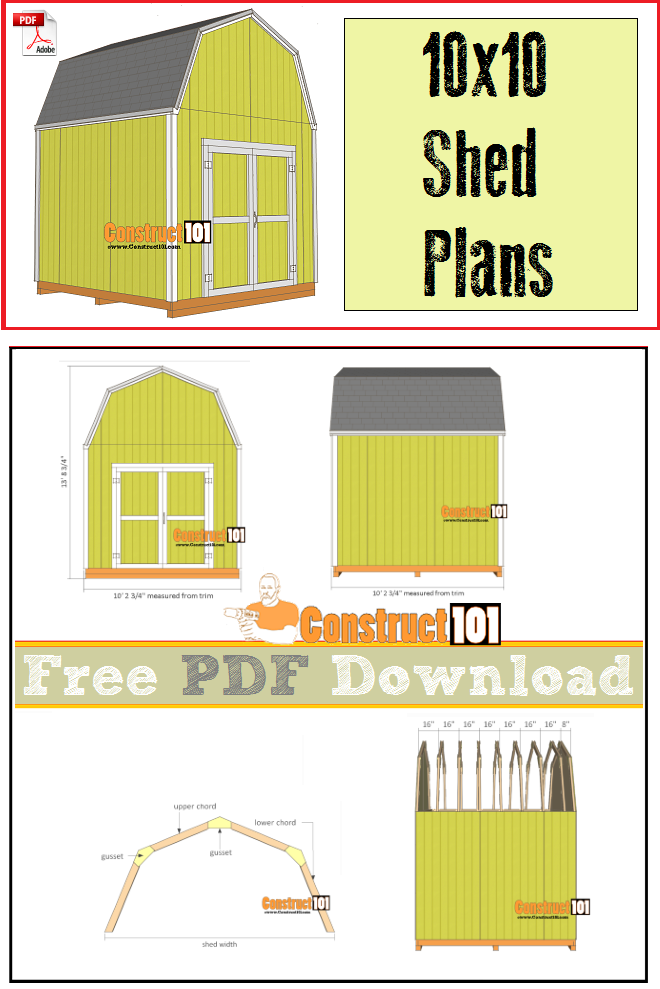 Shed plans - 10x10 gambrel shed - free PDF download, cutting list, and shopping list.