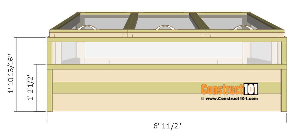 Cold frame plans, front view.