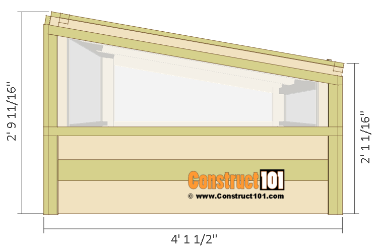 Cold frame plans, side view.