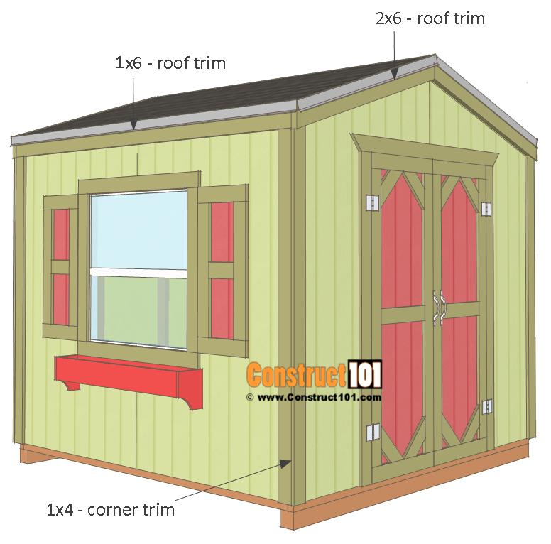Garden shed plans, 8x8, corner trim, roof trim, and shingles.