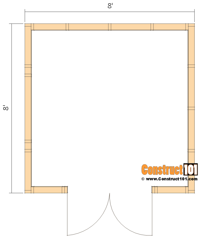 Garden shed plans, 8'x8', floor view.